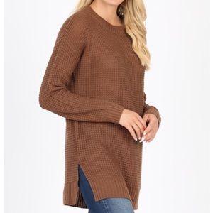 Mocha coffee waffle knit sweater S,M, L, XL NWT
